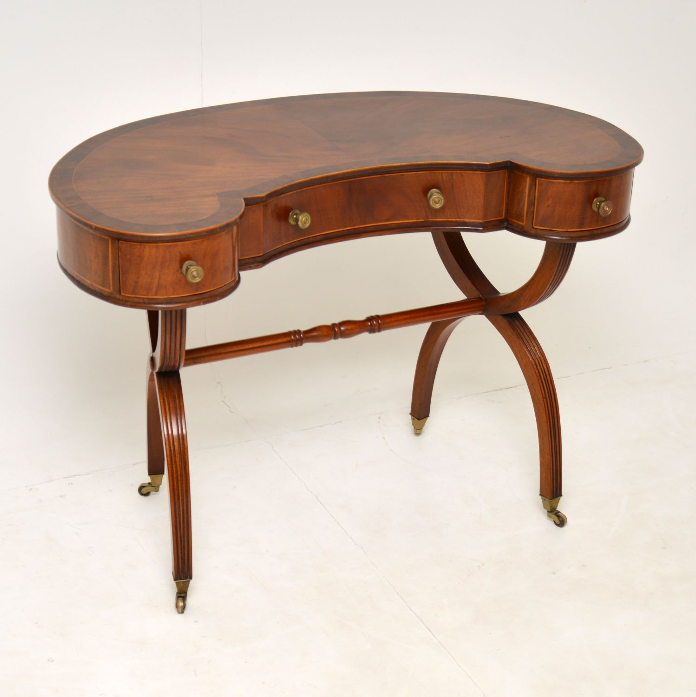 antique regency mahogany kidney desk dressing table