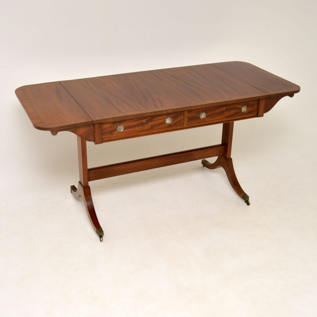 antique inlaid mahogany regency sofa table