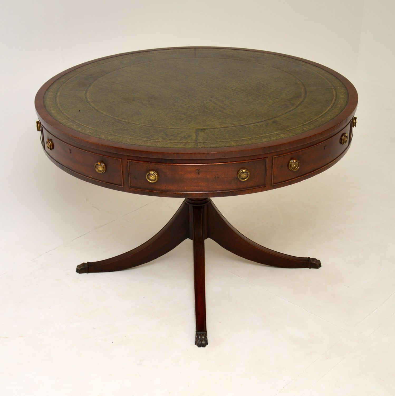 antique regency mahogany centre drum table