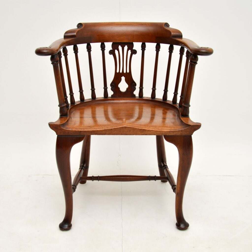 antique victorian mahogany captains desk chair armchair