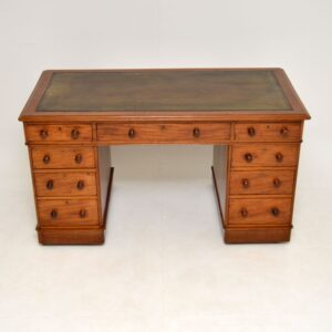 antique victorian mahogany leather pedestal desk