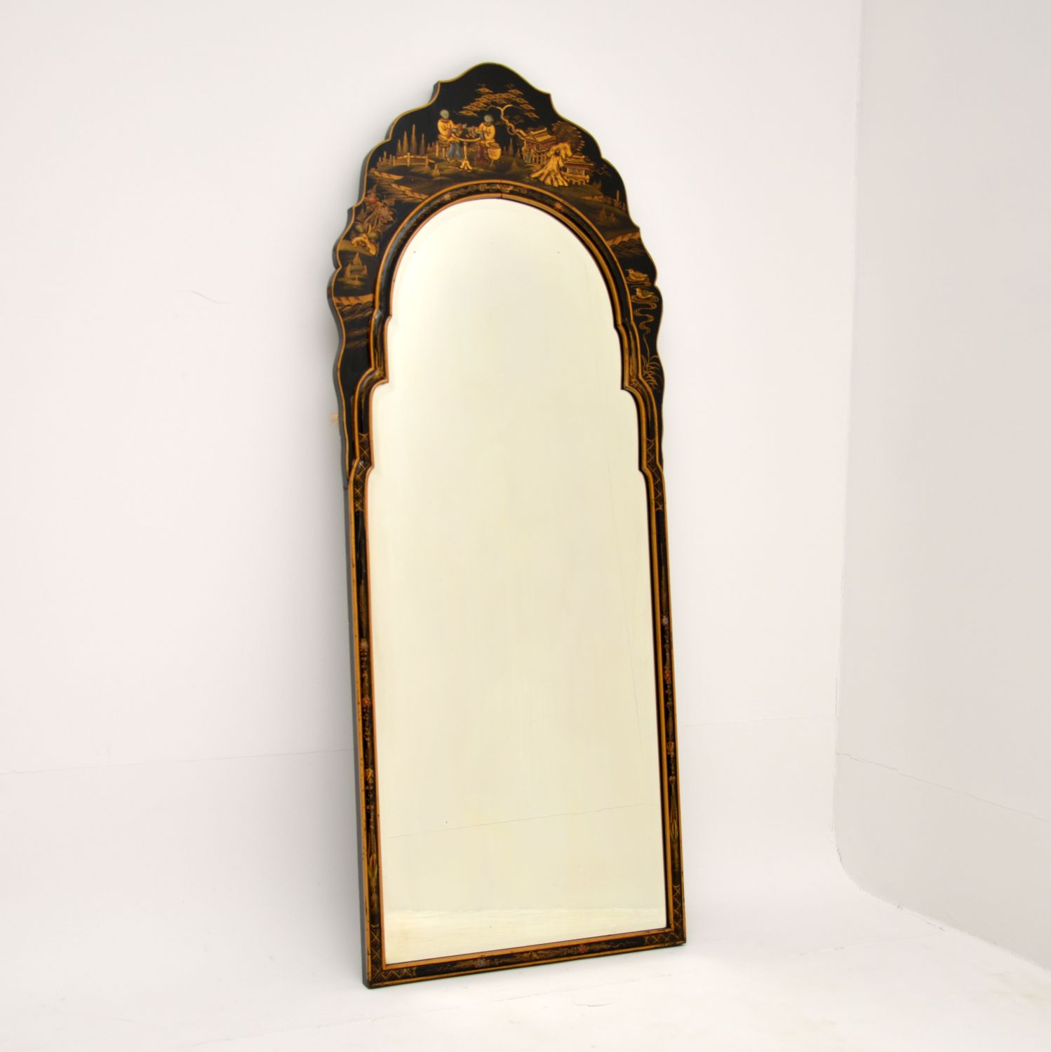 antique chinese lacquered chinoiserie mirror