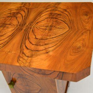 art deco figured walnut coffee side occasional table