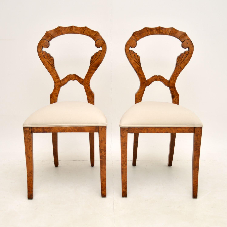 pair of antique regency biedermeier burr walnut balloon back side chairs
