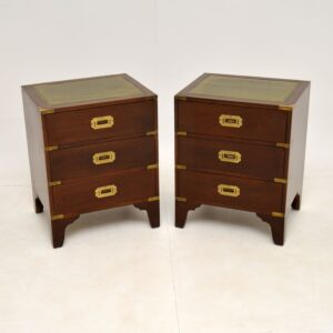 pair of antique military campaign style mahogany leather bedside chests cabinets