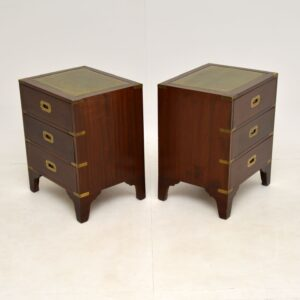 Pair of Antique Military Campaign Style Mahogany Bedside Chests