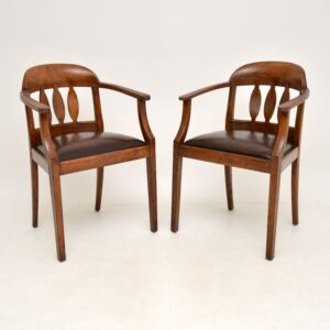 pair of antique edwardian arts and crafts oak armchairs side chairs