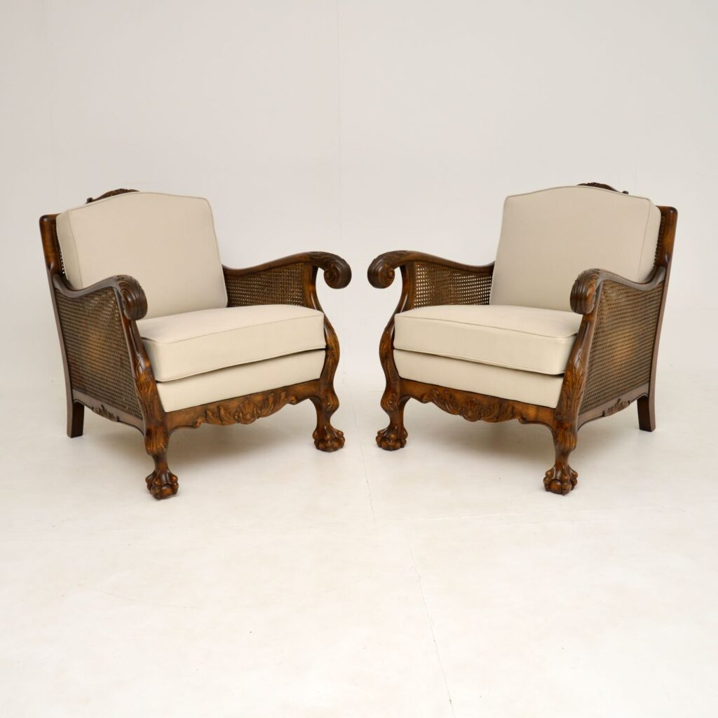pair of antique swedish satin birch bergere armchairs