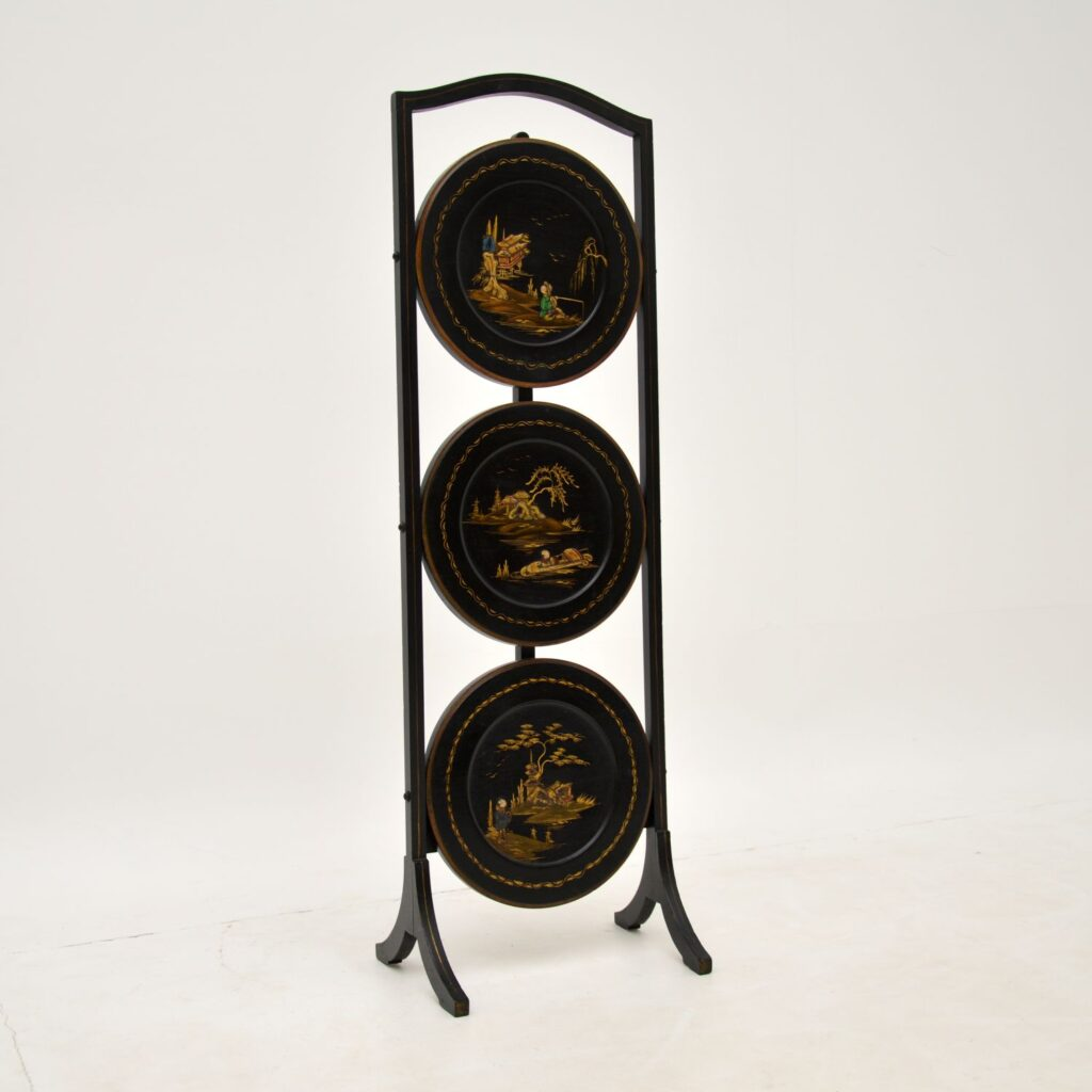 antique edwardian lacquered chinoiserie cake stand