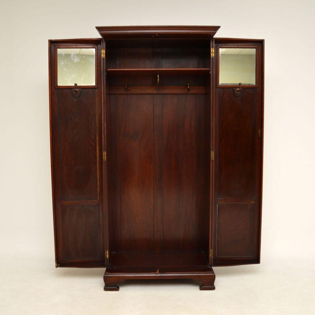 antique edwardian victorian mahogany hall cupboard wardrobe