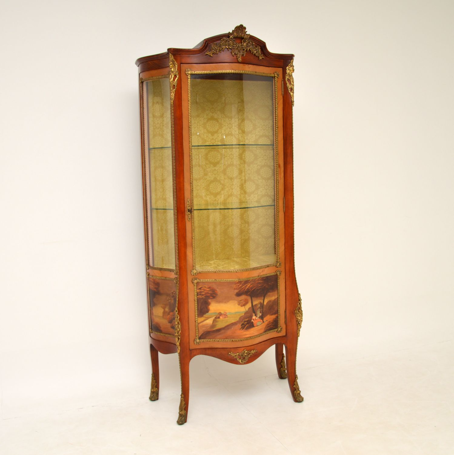 antique french glass fronted vitrine display cabinet
