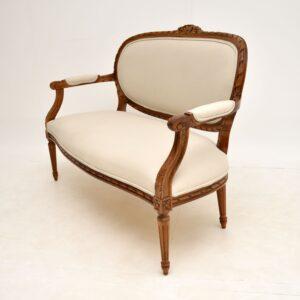 antique french carved walnut salon sofa
