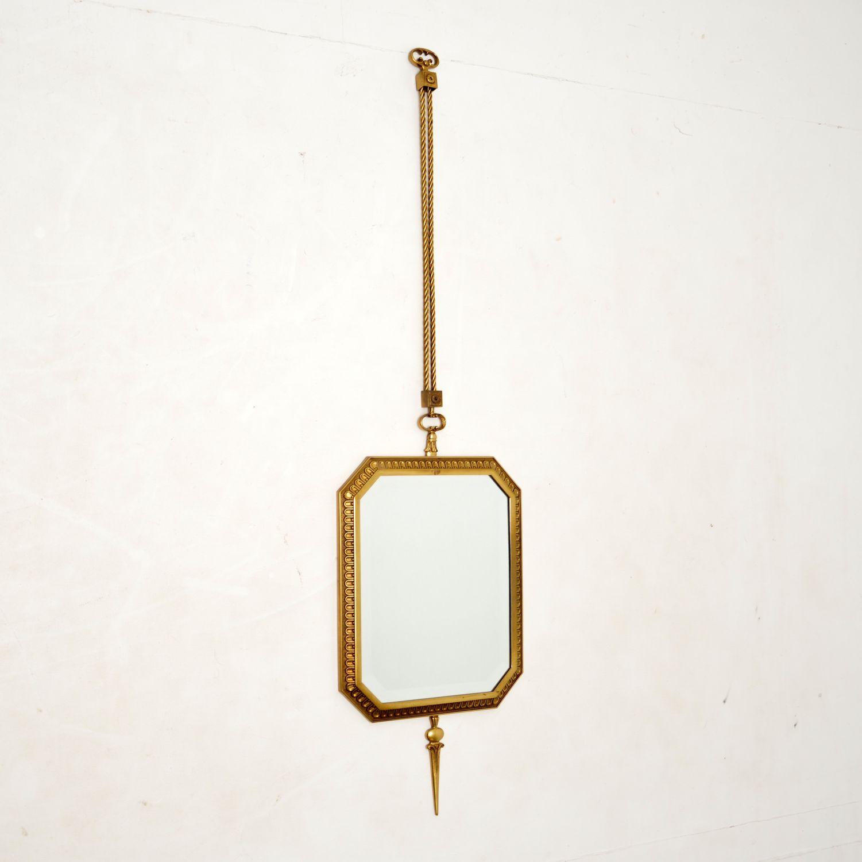 antique vintage french brass pendant mirror