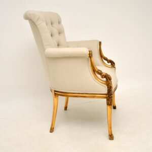 Antique French Style Gilt Wood Deep Buttoned Armchair
