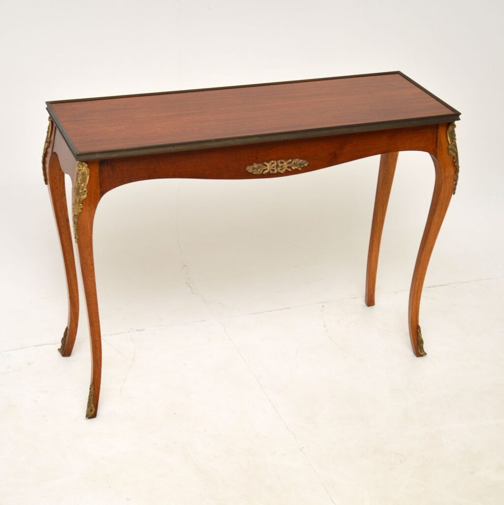 antique french mahogany brass side table