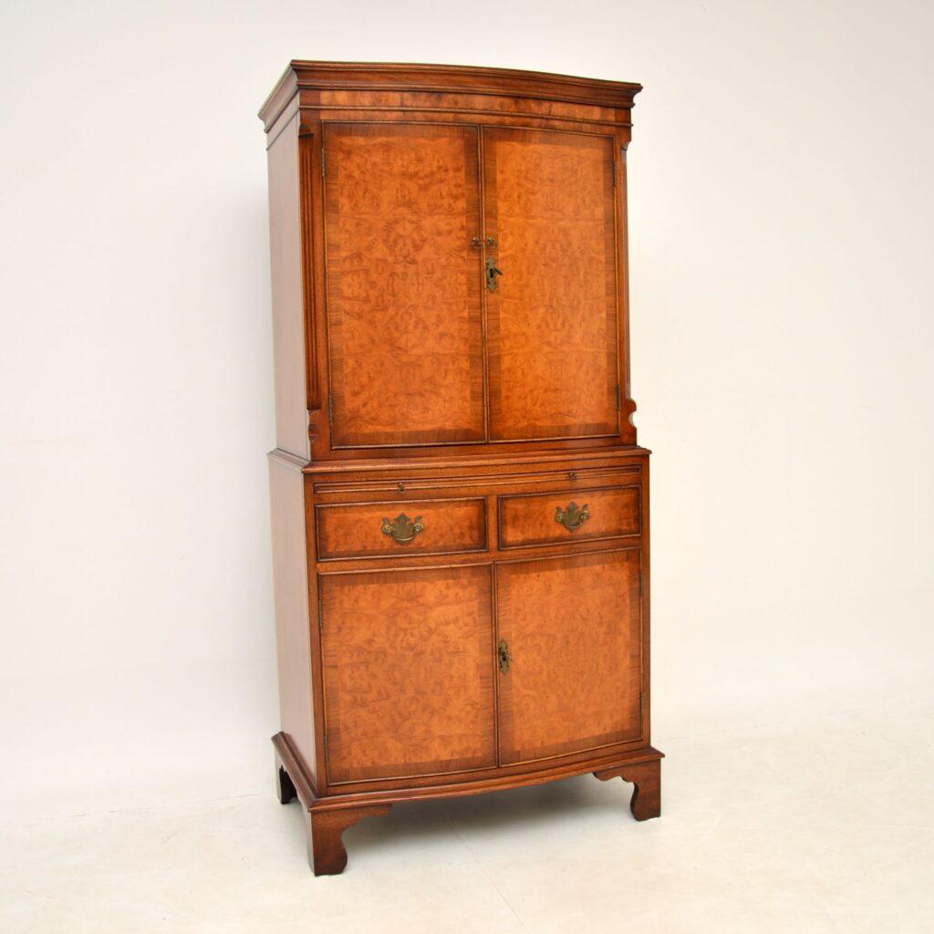 antique georgian burr walnut cabinet on cabinet