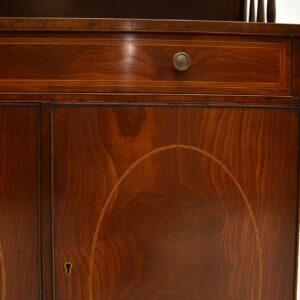 antique edwardian inlaid mahogany cabinet bookcase