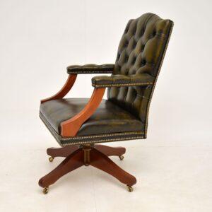 antique leather mahogany swivel desk chair