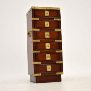 antique military ca,paign style mahogany brass leather miniature chest of drawers
