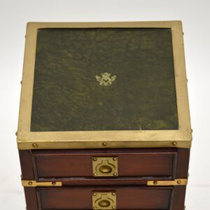Antique Military Campaign Style Mahogany Miniature Chest of Drawers
