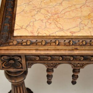 antique carved oak marble top coffee table