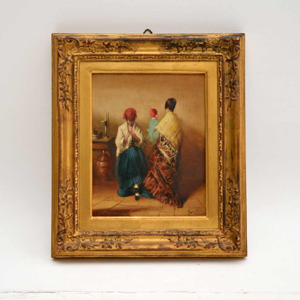 antique oil painting gilt wood frame