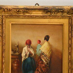 antique oil painting gilt wood frame