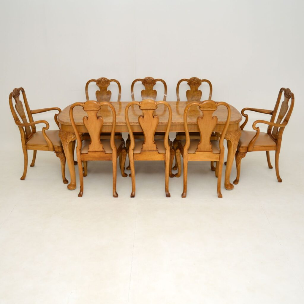 antique queen anne burr walnut epstein dining table chairs