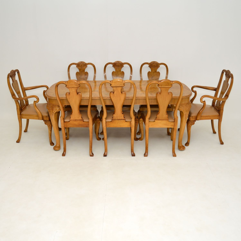 antique queen anne burr walnut epstein dining table chairs