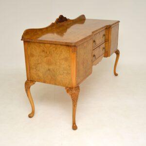 Antique Burr Walnut Queen Anne Style Sideboard