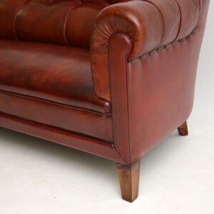 antique swedish leather chesterfield club sofa