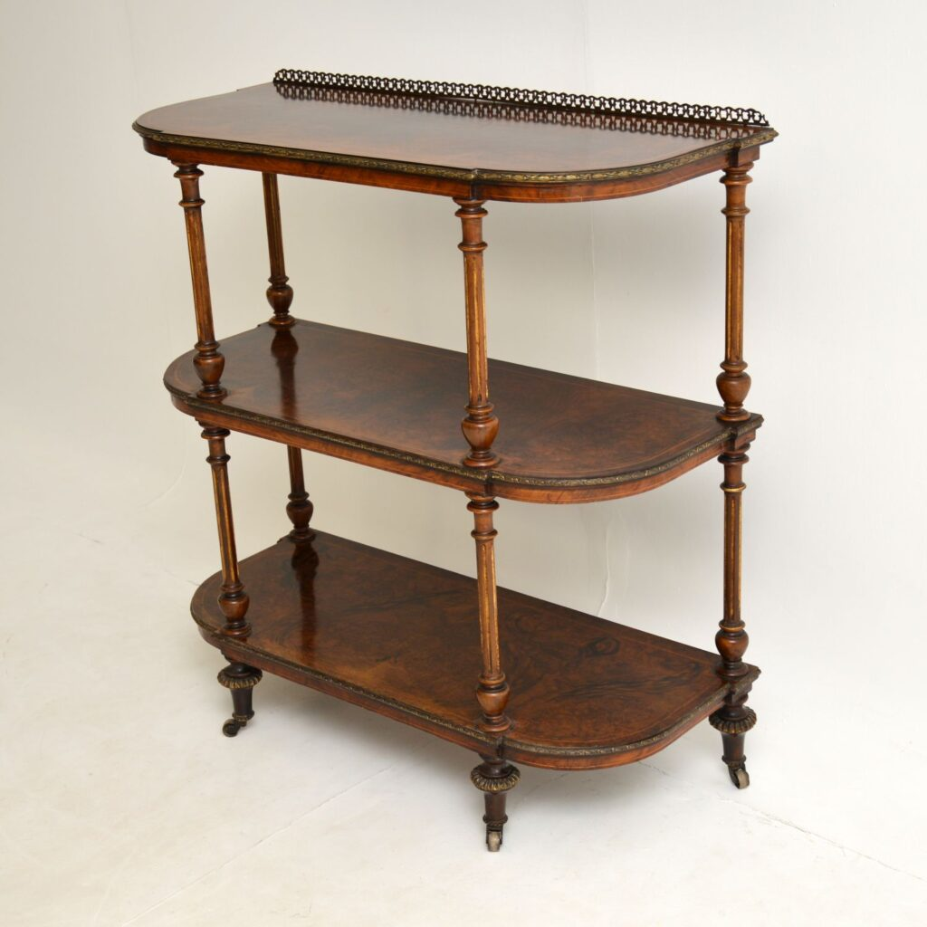 antique victorian burr walnut side table etagere