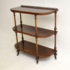antique victorian burr walnut side table etagere
