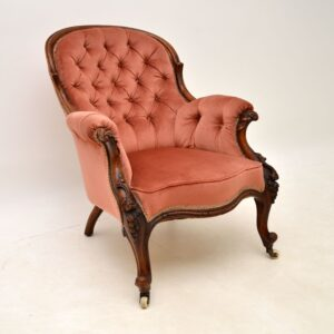 antique victorian spoonback mahogany armchair
