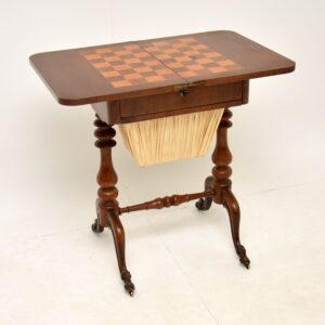 Antique Victorian Walnut Games / Chess Table