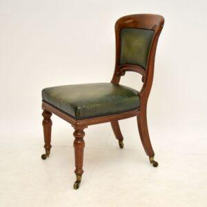 antique victorian walnut leather desk chair