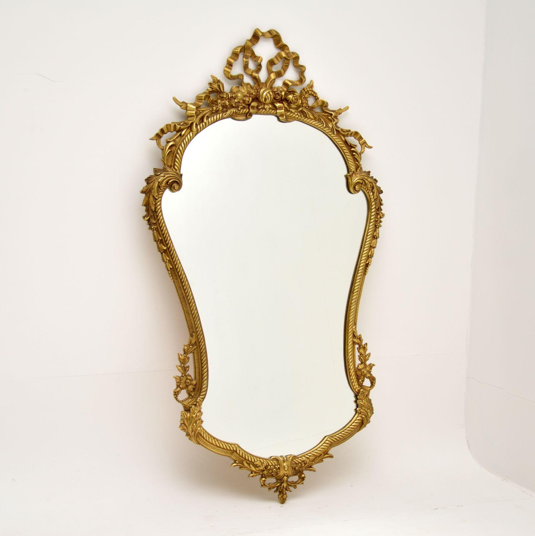 antique french brass mirror