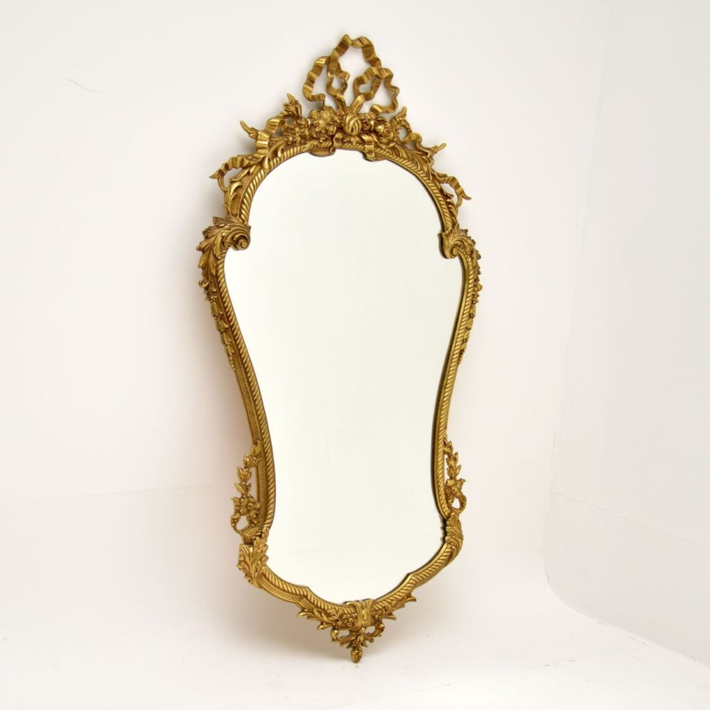 antique french brass mirror