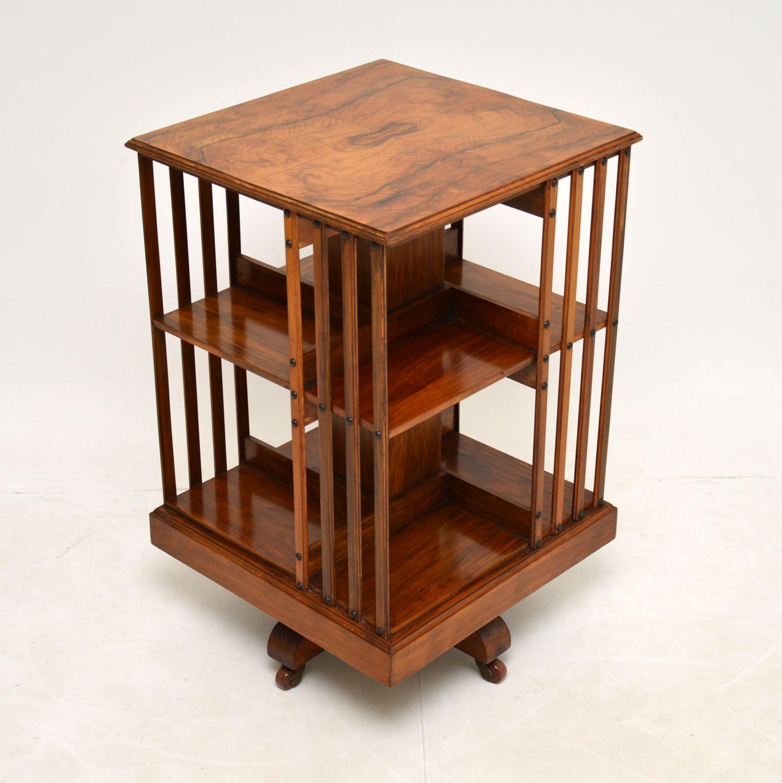 antique victorian edwardian walnut revolving bookcase