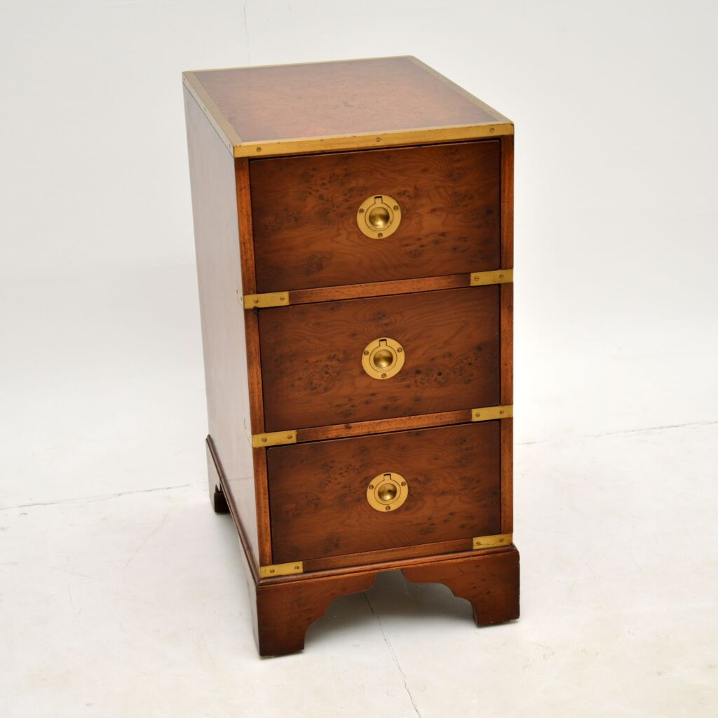 antique yew wood military campaign chest of drawers bedside