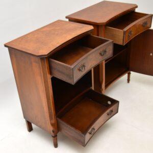 pair of antique georgian burr walnut bedside cabinets