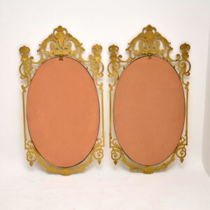 Pair of Antique French Style Brass Mirrors