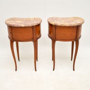 pair of antique french marble top kidney bedside side tables
