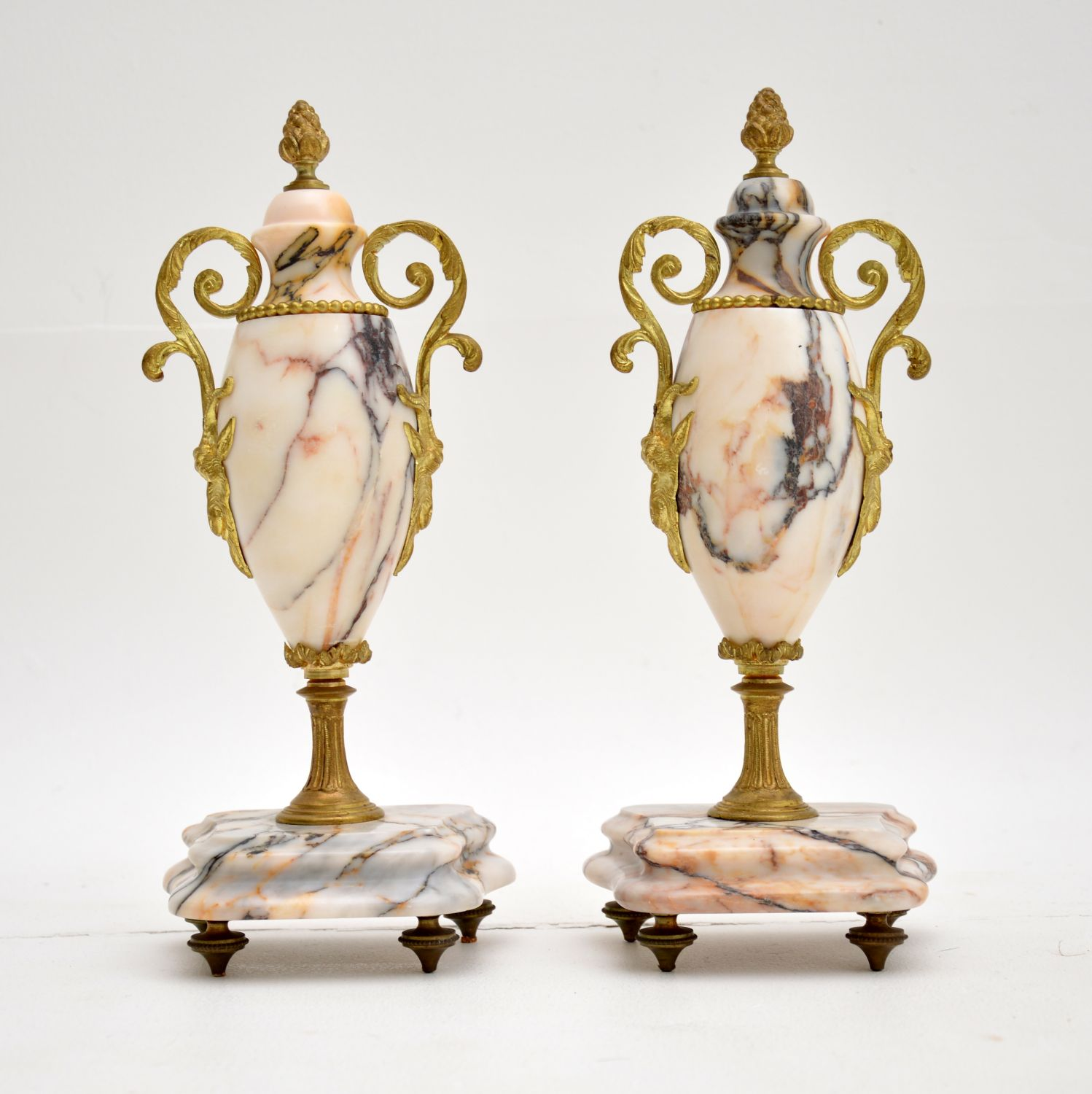 pair of antique french marble gilt metal urns