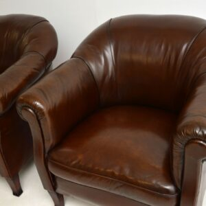 pair of antique leather swedish club armchairs
