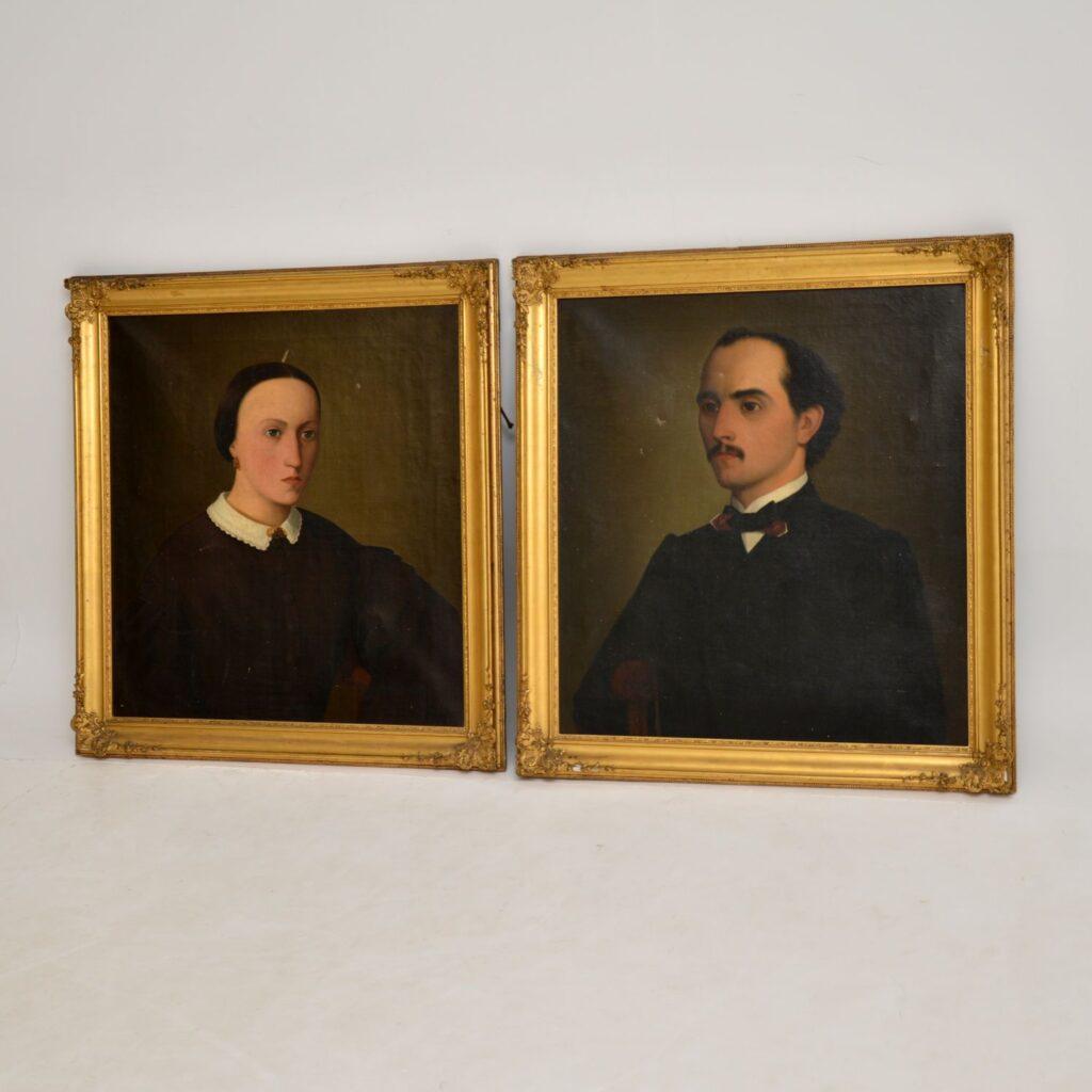 pair of antique oil painting portraits