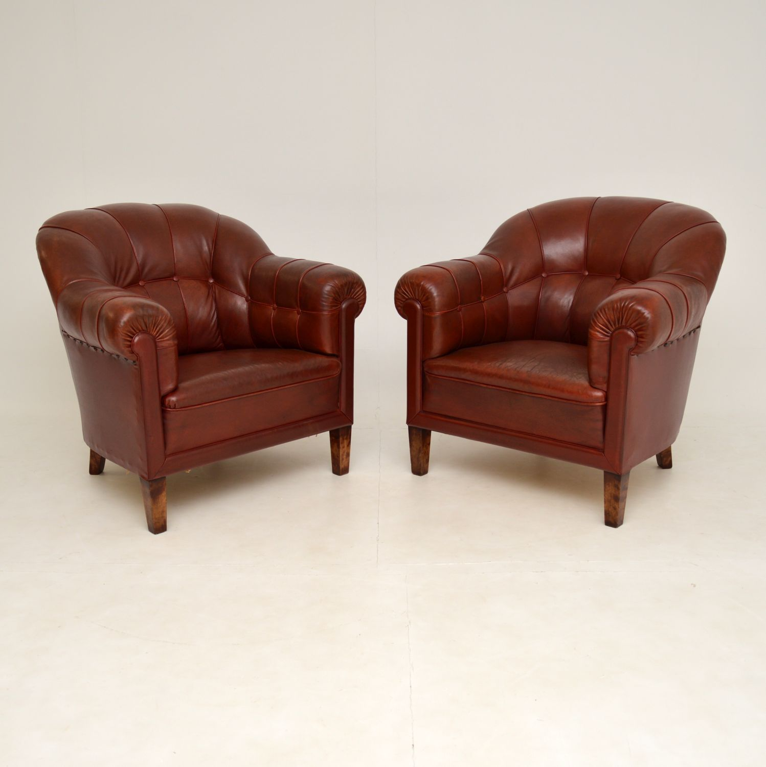 pair of antique swedish leather club chesterfield armchairs