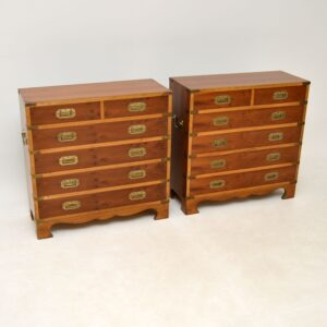 pair of antique military campaign yew wood chest of drawers