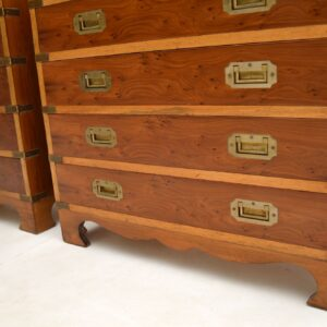 Pair of Antique Yew Wood Military Campaign Style Chests