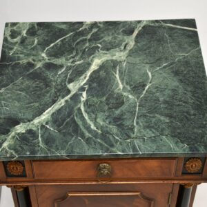 pair of antique georgian style mahogany marble top bedside cabinets